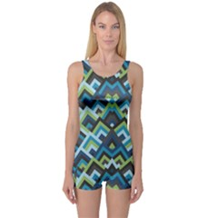 Trendy Chic Modern Chevron Pattern Women s Boyleg One Piece Swimsuits by creativemom