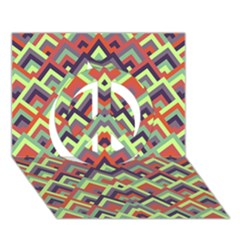 Trendy Chic Modern Chevron Pattern Peace Sign 3d Greeting Card (7x5)  by creativemom