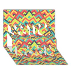 Trendy Chic Modern Chevron Pattern You Rock 3d Greeting Card (7x5)  by creativemom