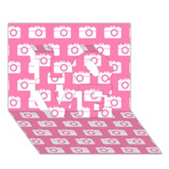 Pink Modern Chic Vector Camera Illustration Pattern Love 3d Greeting Card (7x5)  by creativemom
