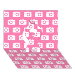 Pink Modern Chic Vector Camera Illustration Pattern Ribbon 3d Greeting Card (7x5)  by creativemom
