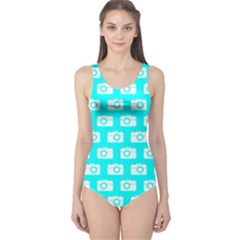 Modern Chic Vector Camera Illustration Pattern Women s One Piece Swimsuits by creativemom