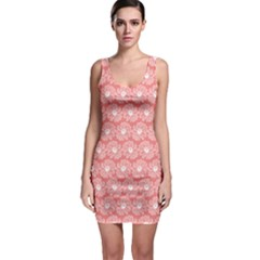 Coral Pink Gerbera Daisy Vector Tile Pattern Bodycon Dresses by creativemom