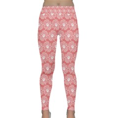 Coral Pink Gerbera Daisy Vector Tile Pattern Yoga Leggings by creativemom