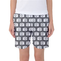 Modern Chic Vector Camera Illustration Pattern Women s Basketball Shorts by creativemom