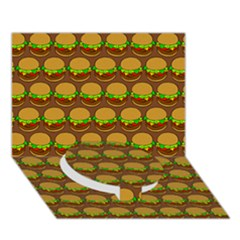 Burger Snadwich Food Tile Pattern Circle Bottom 3d Greeting Card (7x5)  by creativemom