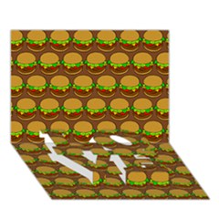 Burger Snadwich Food Tile Pattern Love Bottom 3d Greeting Card (7x5)