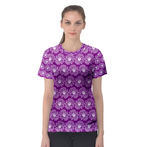 Gerbera Daisy Vector Tile Pattern Women s Sport Mesh Tees by creativemom