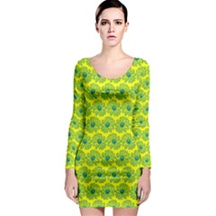 Gerbera Daisy Vector Tile Pattern Long Sleeve Bodycon Dresses by creativemom