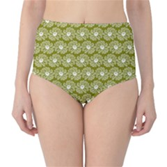 Gerbera Daisy Vector Tile Pattern High Waist Bikini Bottoms