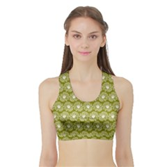 Gerbera Daisy Vector Tile Pattern Women s Sports Bra With Border by creativemom