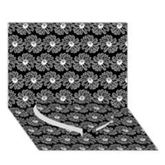 Black And White Gerbera Daisy Vector Tile Pattern Heart Bottom 3d Greeting Card (7x5)  by creativemom