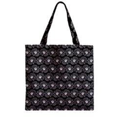 Black And White Gerbera Daisy Vector Tile Pattern Zipper Grocery Tote Bags by creativemom