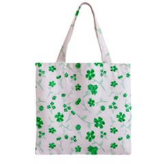 Sweet Shiny Floral Green Zipper Grocery Tote Bags