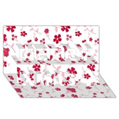 Sweet Shiny Floral Red Merry Xmas 3d Greeting Card (8x4)  by ImpressiveMoments