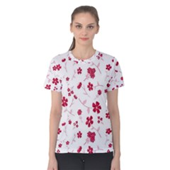 Sweet Shiny Floral Red Women s Cotton Tees