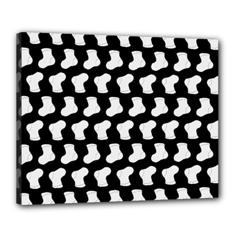 Black And White Cute Baby Socks Illustration Pattern Canvas 20  X 16  by creativemom