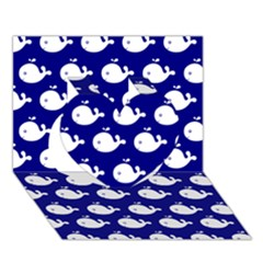 Cute Whale Illustration Pattern Heart 3d Greeting Card (7x5)  by creativemom