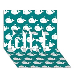 Cute Whale Illustration Pattern GIRL 3D Greeting Card (7x5)