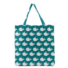 Cute Whale Illustration Pattern Grocery Tote Bags