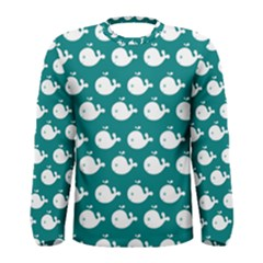 Cute Whale Illustration Pattern Men s Long Sleeve T-shirts