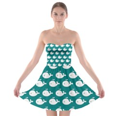 Cute Whale Illustration Pattern Strapless Bra Top Dress