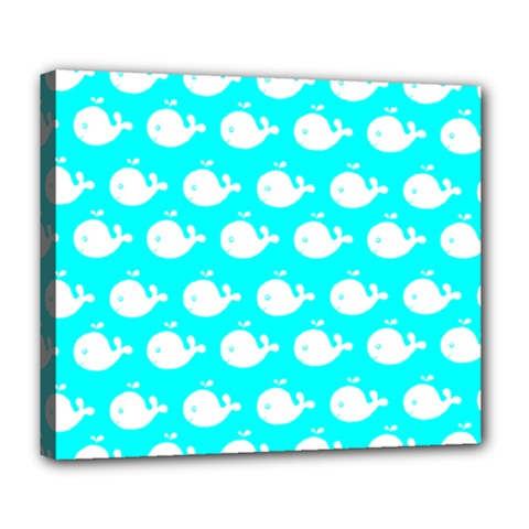 Cute Whale Illustration Pattern Deluxe Canvas 24  X 20   by creativemom