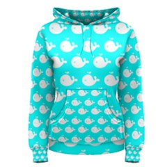 Cute Whale Illustration Pattern Women s Pullover Hoodies by creativemom