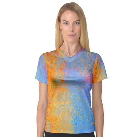 Hot And Cold Women s V-neck Sport Mesh Tee by digitaldivadesigns