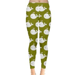 Cute Whale Illustration Pattern Women s Leggings by creativemom