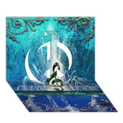 Clef With Water Splash And Floral Elements Peace Sign 3d Greeting Card (7x5)  by FantasyWorld7