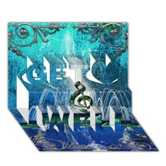 Clef With Water Splash And Floral Elements Get Well 3d Greeting Card (7x5)  by FantasyWorld7