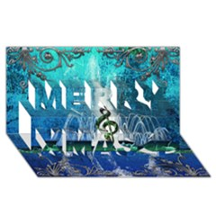 Clef With Water Splash And Floral Elements Merry Xmas 3d Greeting Card (8x4)  by FantasyWorld7
