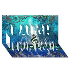 Clef With Water Splash And Floral Elements Laugh Live Love 3d Greeting Card (8x4)  by FantasyWorld7