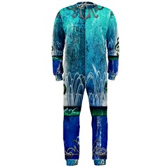 Clef With Water Splash And Floral Elements Onepiece Jumpsuit (men)  by FantasyWorld7