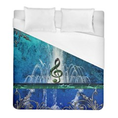 Clef With Water Splash And Floral Elements Duvet Cover Single Side (twin Size) by FantasyWorld7