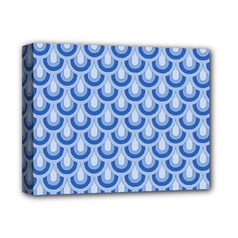 Awesome Retro Pattern Blue Deluxe Canvas 14  X 11  by ImpressiveMoments