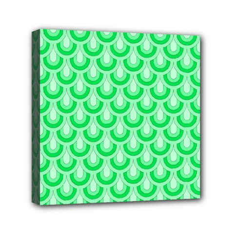 Awesome Retro Pattern Green Mini Canvas 6  X 6  by ImpressiveMoments