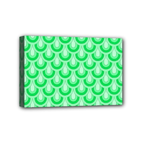 Awesome Retro Pattern Green Mini Canvas 6  X 4  by ImpressiveMoments