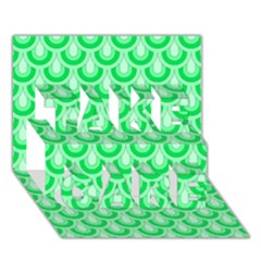 Awesome Retro Pattern Green Take Care 3d Greeting Card (7x5)