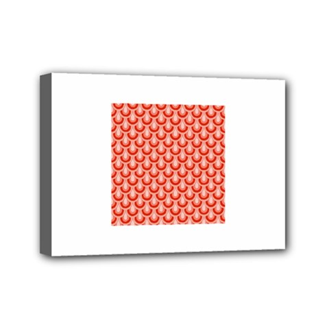 Awesome Retro Pattern Red Mini Canvas 7  X 5  by ImpressiveMoments