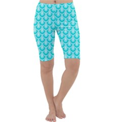 Awesome Retro Pattern Turquoise Cropped Leggings by ImpressiveMoments