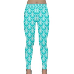 Awesome Retro Pattern Turquoise Yoga Leggings by ImpressiveMoments