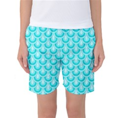 Awesome Retro Pattern Turquoise Women s Basketball Shorts by ImpressiveMoments