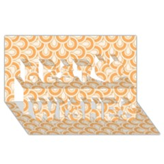 Retro Mirror Pattern Peach Best Wish 3d Greeting Card (8x4)  by ImpressiveMoments