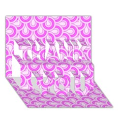 Retro Mirror Pattern Pink Thank You 3d Greeting Card (7x5)
