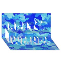 Camouflage Blue Best Wish 3d Greeting Card (8x4)
