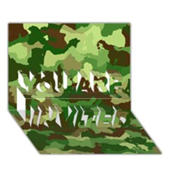 Camouflage Green You Are Invited 3d Greeting Card (7x5)