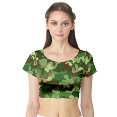 Camouflage Green Short Sleeve Crop Top by MoreColorsinLife