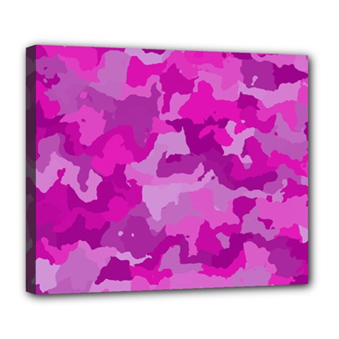 Camouflage Hot Pink Deluxe Canvas 24  X 20   by MoreColorsinLife